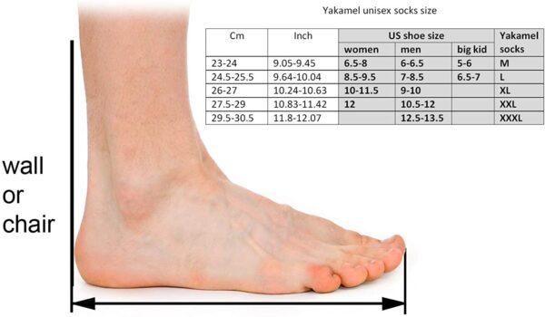 size measurement of yak wool socks