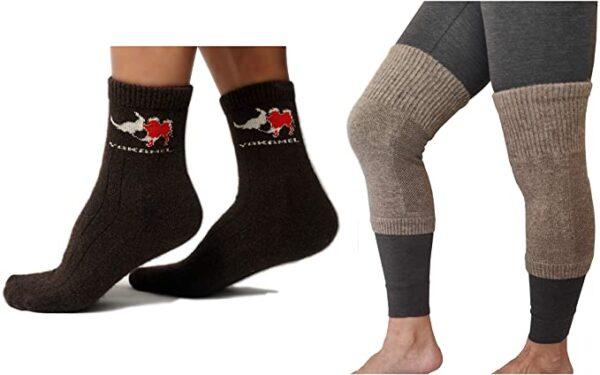 yak wool socks plus wool knee warmer